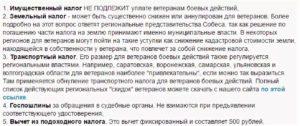 Налоговые льготы ветеранам боевых действий в московской области