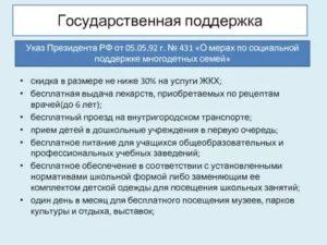 Указ Президента О Мерах Социальной Поддержки Многодетных Семей 2021